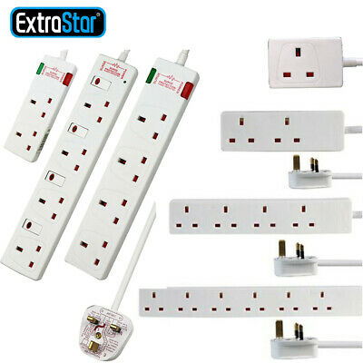 £12.99 • Buy Surge Protected Mains Extension Lead 13A UK Power Cable Electric Plug Socket