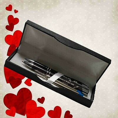 AU22.50 • Buy Personalised Valentines Day Gift Metal Engraved Pen Box Set Gift For Him Or Her