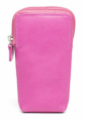 Soft Double Glasses Case Leather Zipped Spectacle Holder -  Pink - ZEN62 • 10.99£