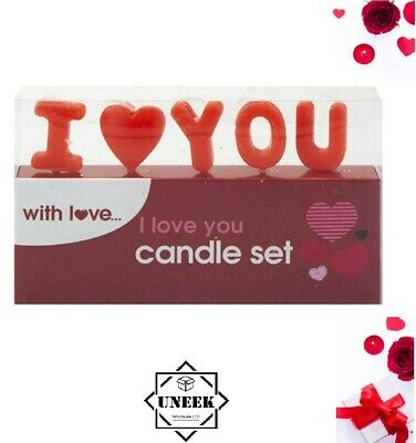 Red Candles Set I LOVE YOU Romantic Gift Valentines Day Decor Cake Topper P7081 • 2.95£