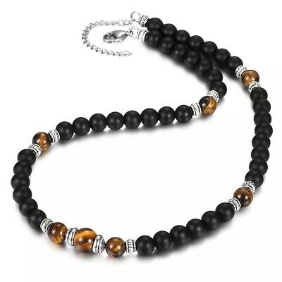 £4.99 • Buy Tiger Eye Chakra Necklace Black Matte Onyx Beaded Natural Stone Bead Necklaces