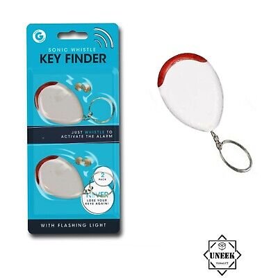 2pk  Lost Key Finder Sonic Whistle Flashing Beeping Locator Remote Chain LED UK • 3.50£