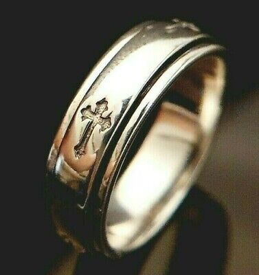 £18.95 • Buy  Artisan 925 Sterling Silver Cross Crucifix Spinner Spin Band Ring Size N