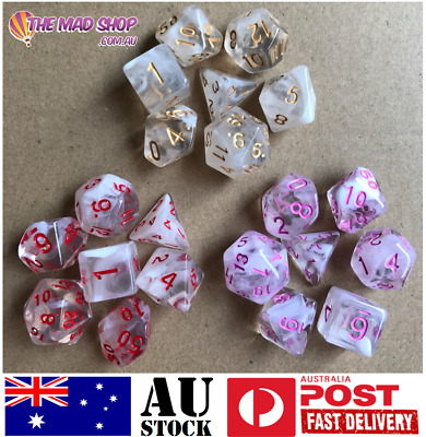 AU14.99 • Buy Two Toned Polyhedral Translucent Resin Dice Dungeons And Dragons 7  Die Set