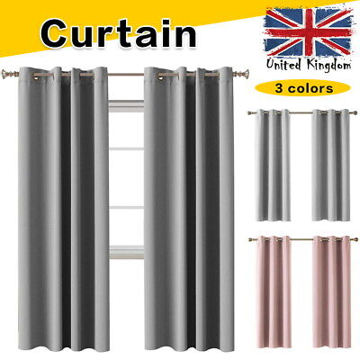 Heavy Thick Curtain Thermal Blackout Curtains Ready Made Eyelet Ring Top Pair • 13.99£