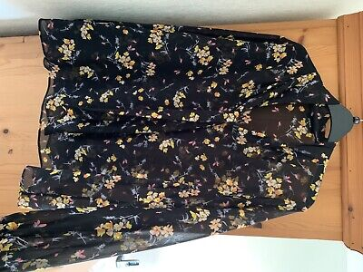 Ladies Size 18 Papaya Matalan Blouse Top Black Floral • 3.99£