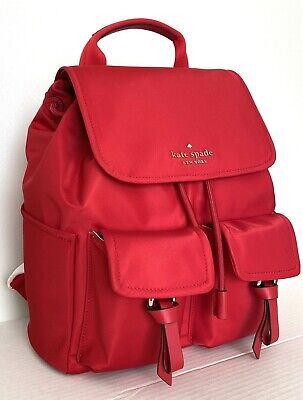 $ CDN149.13 • Buy New Kate Spade New York Carley Flap Backpack Nylon With Leather Favorite Red