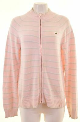 LACOSTE Womens Cardigan Sweater EU 46 XL Pink Striped Cotton IT04 • 28.25£