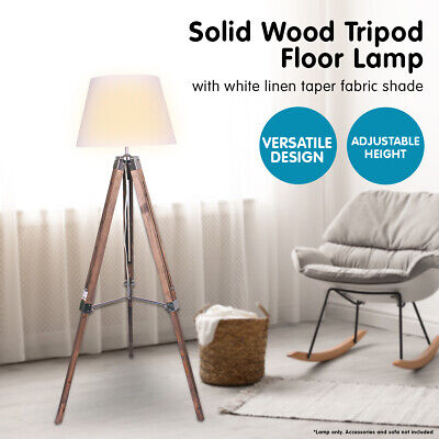 AU135 • Buy Solid Wood Tripod Floor Lamp Adjustable Height Stand White Linen Round Shade