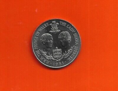 1981 Guernsey Prince Of Wales & Lady Diana Spencer 25p Coin LOOK • 4.95£
