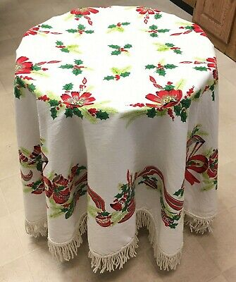 """$ CDN49.72 • Buy Christmas Tablecloth Fringed Round 60"""" Vintage MCM White Holly Tree Ornaments"""