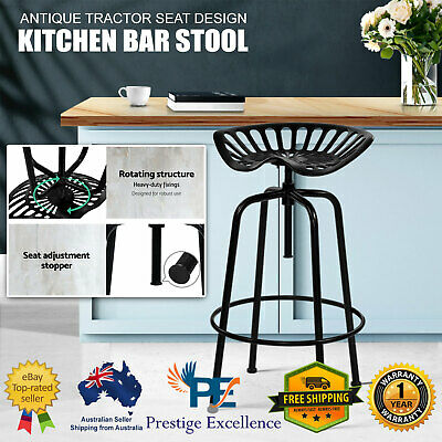 AU116.90 • Buy Kitchen Bar Tractor Stool Chairs Industrial Vintage Retro Swivel Barstools Metal