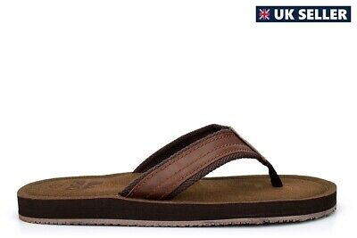 Mens Summer Sandals Faux Leather Flip Flops Leather Effect Mules Toe Post Brown • 11.78£
