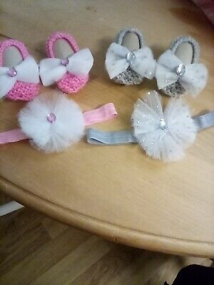£4.99 • Buy Baby Girls Hand Knitted Pram Shoes Headband Sets 0-3 Months