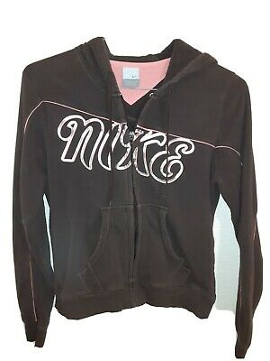 Women's Nike Hoodie Vtg. Gold Spell Out Pink Lined Brown Hooded Track Top Med • 32.22£