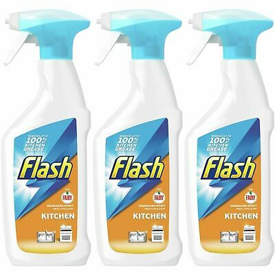 3 X Flash With Fairy Kitchen Spray 450ml, Degreasing Effect, Fresh Citrus Scent • 6.73£
