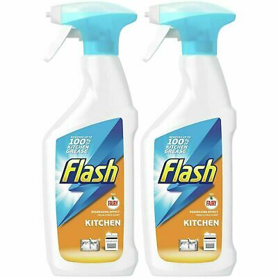 2 X Flash With Fairy Kitchen Spray 450ml, Degreasing Effect, Fresh Citrus Scent • 5.70£