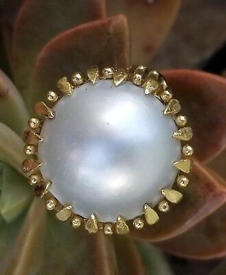 $799.99 • Buy Vintage 14k Gold Mabe Pearl Ring-Pearl Jewelry-Estate Jewelry Large Size 7  7gm