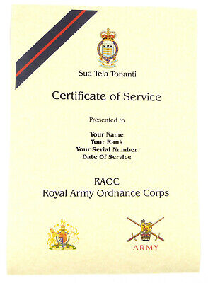 £9.99 • Buy RAOC Royal Army Ordnance Corps Personalised Certificate Of Military Service.