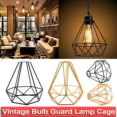 Vintage Metal Cage Industrial Wire Frame Pendant Light Loft Ceiling Lamp Shade • 8.49£