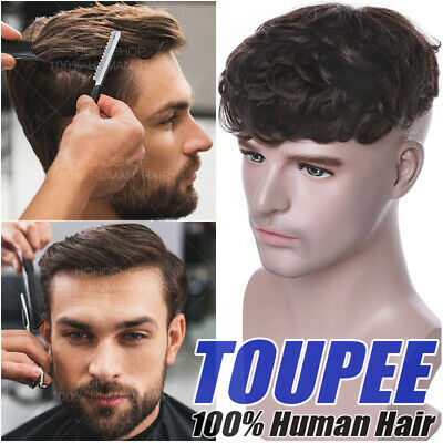 £29.33 • Buy Replacement System Men Toupee Clip In 150% Remy Human Hair Hairpiece Wig Black