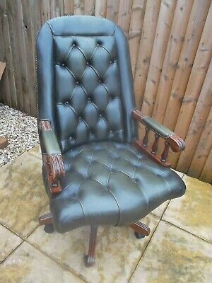 £295 • Buy Beautiful Green Leather Captains Chair