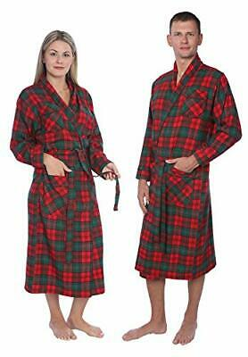 $36.06 • Buy Mens,Womens Cotton Flannel Plaid Shawl Collar Robe With Pockets 3X Big Red Green