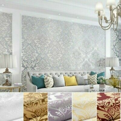 Vintage Damask Embossed Textured Wallpaper Roll 3D Non-woven Wall Paper Home • 22.56£