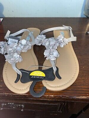 New Grey Flowered Thong/Toe Post Sandals Size 8=41 • 7.50£