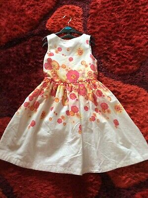 Girls John Rocha White Floral Party Dress Age 9yrs (14) Vg Used Cond • 6.99£