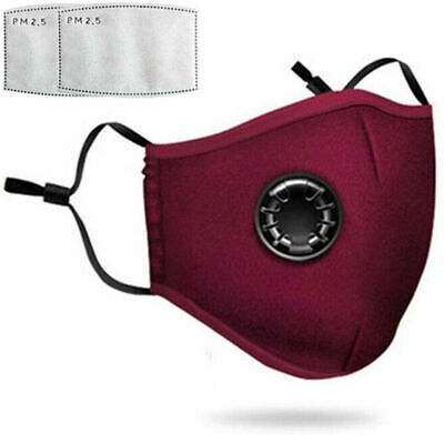 Reusable Washable Anti Pollution Face Mask PM2.5 Air Vent With 2 Filter Wind Red • 3.99£