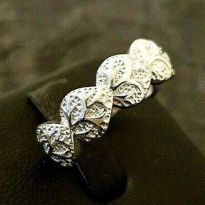Ladies 925 Sterling Silver Textured Leaf Tree Band Ring Size M • 18.95£