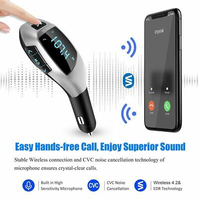 Bluetooth Handsfree Car Kit FM Transmitter MP3 Player & USB Charger For Iphone X • 10.89£