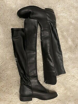£45 • Buy Dune 'trish' Mixed Leather Stretch Panel Over The Knee Pull On Boots Size 6/39