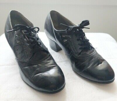 AU77.22 • Buy 40's DECO WING STEP BLACK LEATHER ORNATE GRANNY SHOES ORIGINAL LACED UP SIZE 7 8