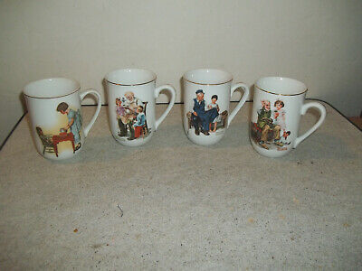 $ CDN7.56 • Buy Set Of 4 Norman Rockwell Party Time & Museum Coffee Mugs Cups 1981-82 Nice L@@@K