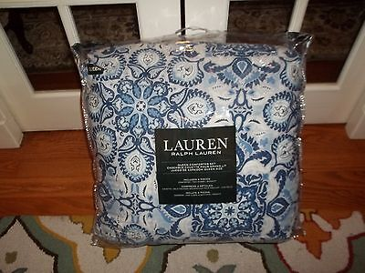 $ CDN202.55 • Buy NIP Ralph Lauren Blue White Medallion Floral Queen Comforter Set 4pc
