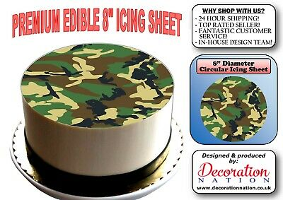 £6.59 • Buy Camouflage 8 INCH ICING Edible Cake Topper Decoration Pattern Background Army