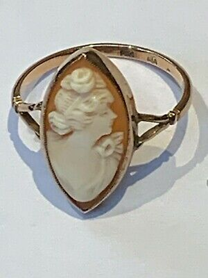 £124.50 • Buy Vintage Shell rose Gold Cameo Ring