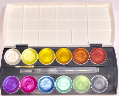 12 Colors Metallic Glitter Art Paint Set For Artists Watercolor Calligraphy • 10.88£