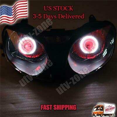 $259.99 • Buy IF Front Headlight Red Angel Eye Fit For Kawasaki 2000-2002 ZX6R 636 S014