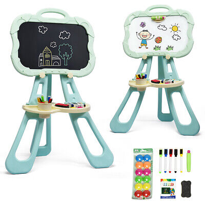 £24.95 • Buy 2 In 1 Kids Easel Double-sided Children Drawing Board With Art Supplies Stand