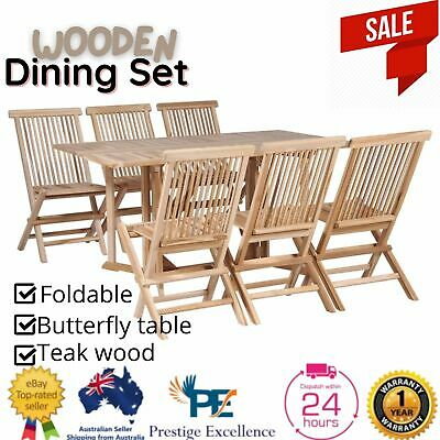 AU599.97 • Buy Foldable Outdoor Furniture Dining Set 7pcs Patio Garden Table Chairs Setting AU