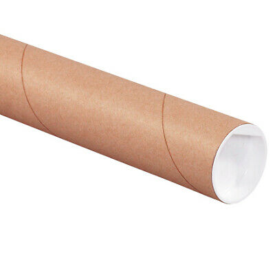 $39.47 • Buy Mailing Shipping Tubes With Caps 2 X 15 Inches, Brown, Kraft, Pack Of 12