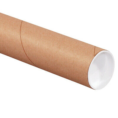 $52.10 • Buy Mailing Shipping Tubes With Caps 2 1/2 X 15 , Brown, Kraft, Pack Of 34