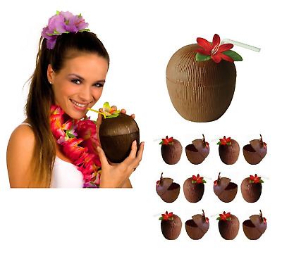 Hawaiian Hula Tropical Luau COCONUT CUP & FLOWER STRAW Hen Party Decor Beach UK • 4.95£