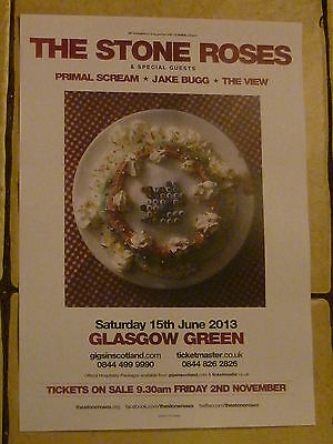 £4.77 • Buy The Stone Roses 2013 Glasgow Concert Gig Poster Primal Scream Jake Bugg The View