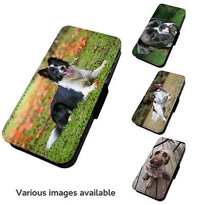 Printed Faux Leather Flip Phone Case For IPhone - V1 Various Dogs Canine Pet • 9.75£