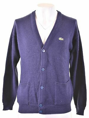 LACOSTE Mens Cardigan Sweater Size 4 Small Navy Blue Wool EW13 • 33.20£