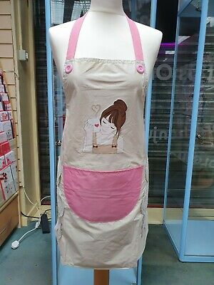 Ladies Cream / Pink Apron With Pocket, Toweling Patches And Cappuccino Feature • 7.99£